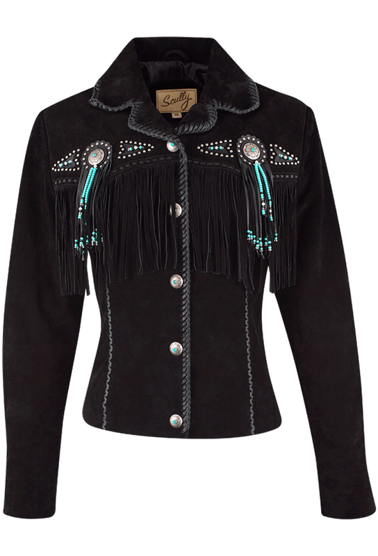 SCULLY WOMEN'S FAWN FRINGE JACKET in BLACK
