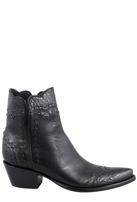 STALLION WOMEN'S ZORRO BLACK GATOR ANKLE BOOTS