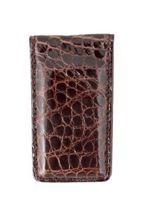 American Alligator Magnetic Money Clip - Brown - Front