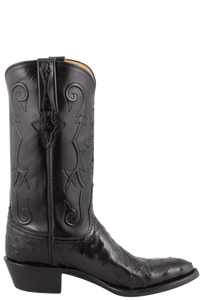 Lucchese Men's Black Full-Quill Ostrich Boots - Side