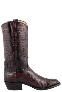 Lucchese Men's Black Cherry Full-Quill Ostrich Boots - Side