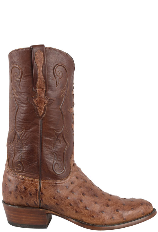 LUCCHESE CLASSIC MEN'S OSTRICH BOOTS IN BARNWOOD