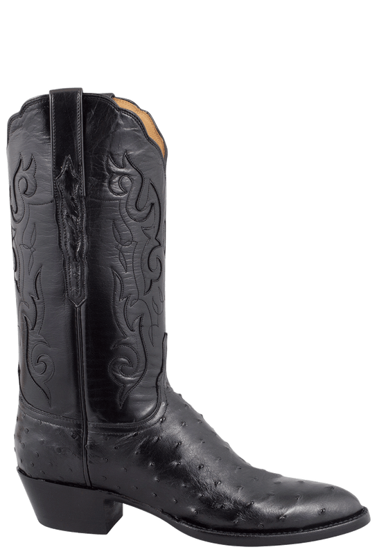 LUCCHESE WOMEN'S BLACK FULL-QUILL OSTRICH BOOTS