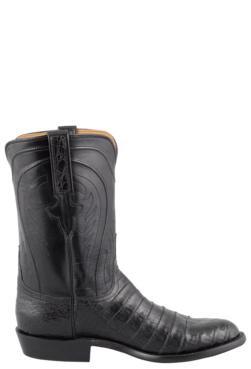 f836aa0c691 Lucchese Men's Black Belly Caiman Roper Boots