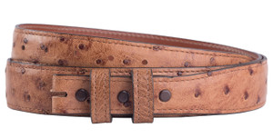 "Full-Quill Ostrich 1 1/4 - 1"" Tapered Belt Strap - Barnwood 1"