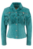 Scully Fawn Fringe Jacket - Turquoise - Front