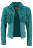 Scully Fawn Fringe Jacket - Turquoise - Hero
