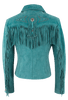 Scully Fawn Fringe Jacket - Turquoise - Back