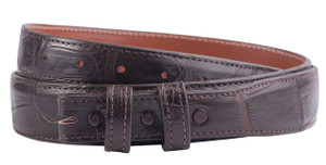 "Matte Alligator 1 1/4 - 1"" Tapered Belt Strap - Chocolate 1"