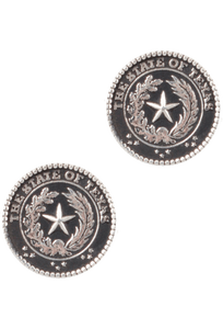 Pinto Ranch Texas State Seal Silver Cufflinks - Front