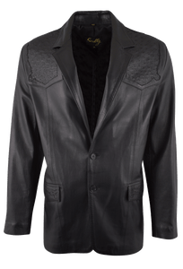 Scully Lambskin and Full-Quill Ostrich Blazer - Black - Front