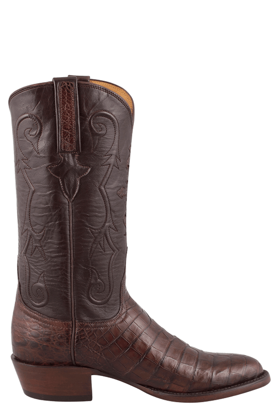 LUCCHESE MEN'S SIENNA ULTRA CAIMAN CROCODILE BOOTS - ROUND TOE