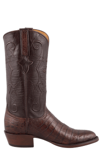 Lucchese Men's Sienna Ultra Caiman Crocodile Boots - Round Toe - Side