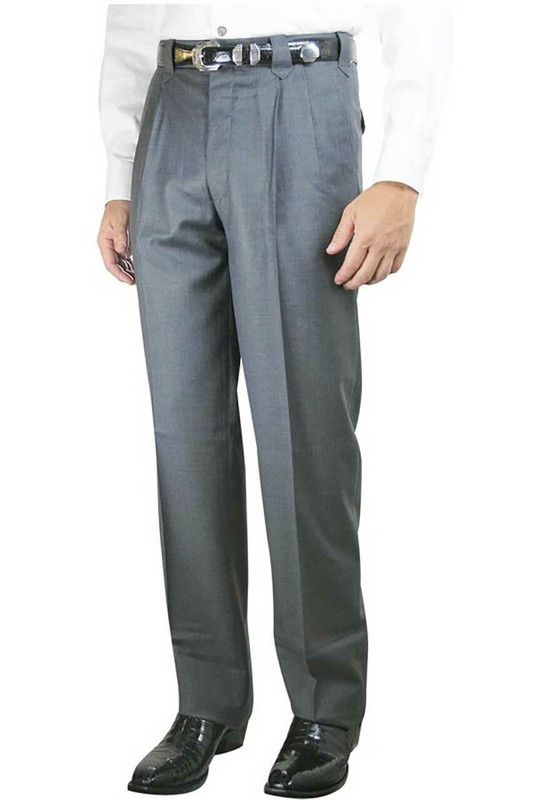 Pleated Western Dress Slacks - Medium Grey - Front
