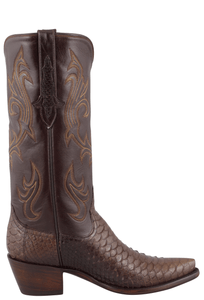 Stallion Women's Chocolate Python Boots - Side