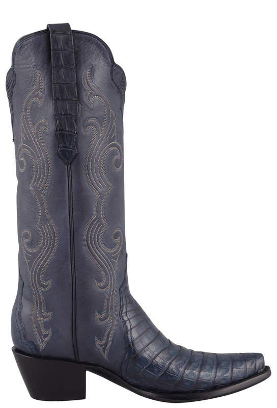 STALLION WOMEN'S NAVY CAIMAN CROCODILE TRIAD BOOTS