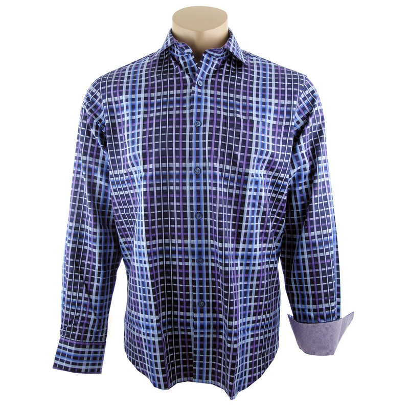 Bugatchi Navy and Purple Plaid Shirt - Front