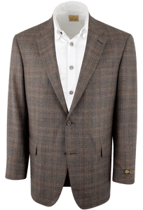 Brown Wool Plaid Western Sport Coat - Front