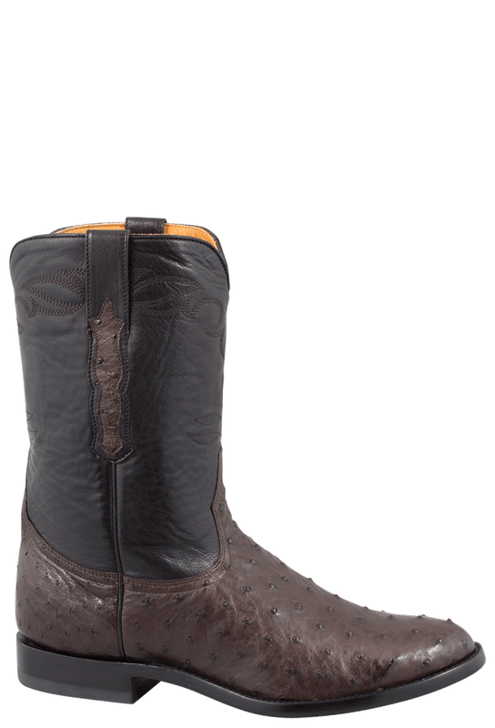 Benchmark by Old Gringo Men's Nicotine and Black Full-Quill Ostrich Cody Roper Boots - Side