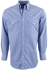 HAMILTON BY LYLE LOVETT BLUE SOLID POPLIN SHIRT-FRONT