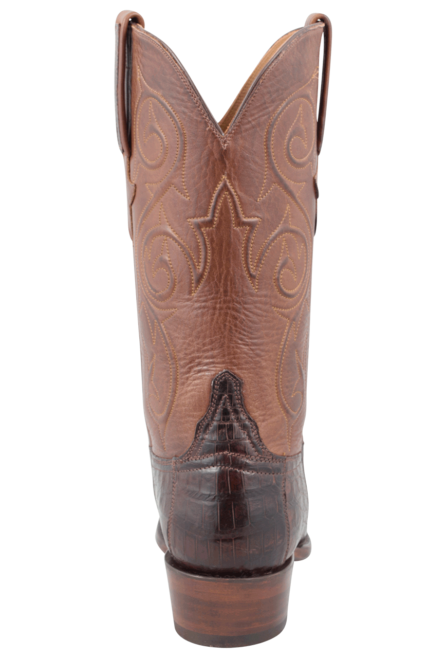 4b19ee77c9a Lucchese Men's Barrel Brown Ultra Caiman Crocodile Boots - Round Toe