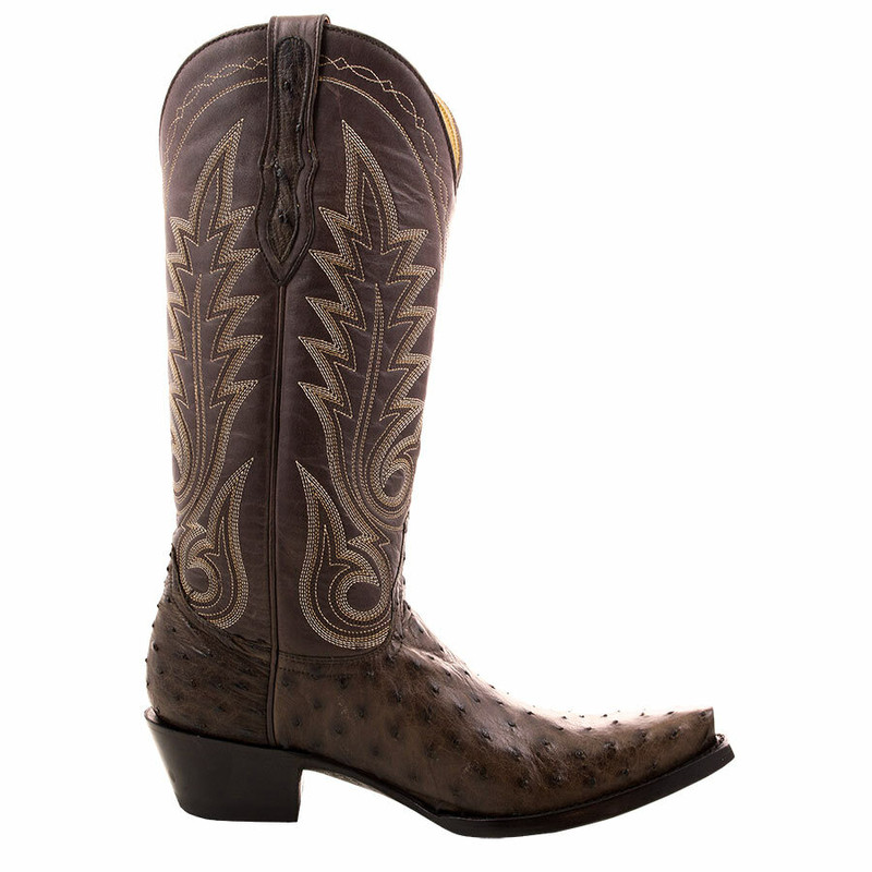 Benchmark By Old Gringo Women's Chocolate Full-Quill Ostrich Boots - Side