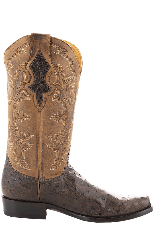 Benchmark Men's Cigar Full-Quill Ostrich Boots - Side