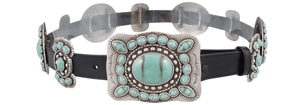 Turquoise Butterfly Concho Belt - Black