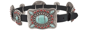 Turquoise and Coral Butterfly Concho Belt - Black - Front