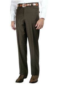 Luxury Plain Front Western Dress Slacks - Brown - Front
