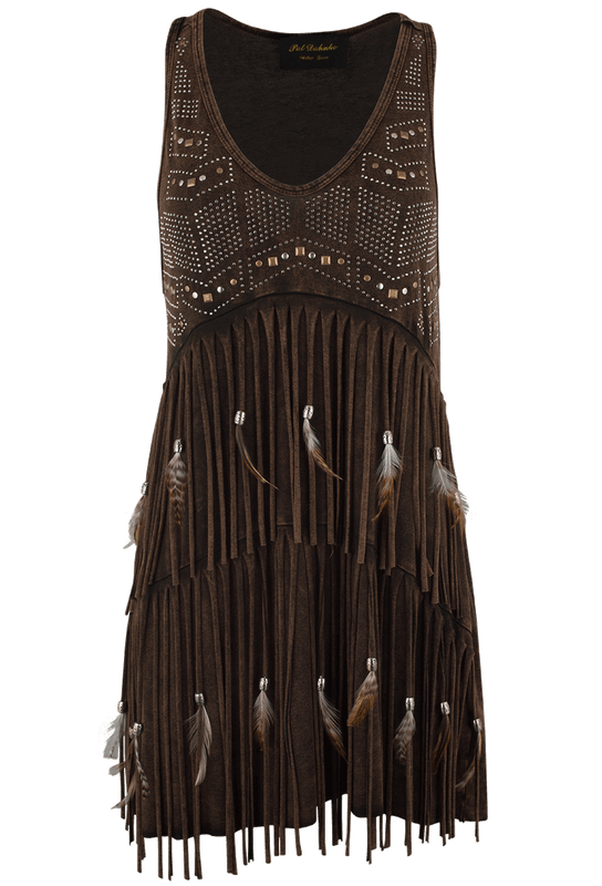 Pat Dahnke Fringe and Feather Tank - Brown - Front