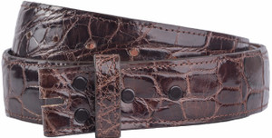 "Alligator 1 1/2"" Straight Belt Strap - Chocolate 1"