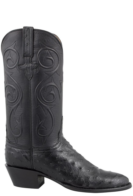 LUCCHESE WOMEN'S BLACK FULL-QUILL OSTRICH CORDED BOOTS