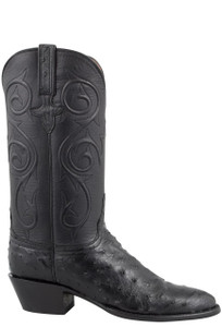 Lucchese Women's Black Full-Quill Ostrich Corded Boots - Side