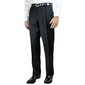 Pleated Western Dress Slacks - Black