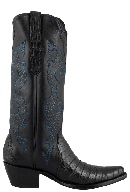 STALLION WOMEN'S BLACK CAIMAN CROCODILE TRIAD BOOTS