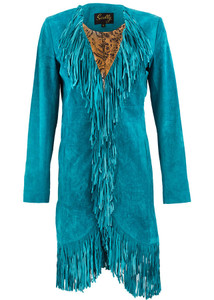 Scully Suede Long Fringe Maxi Coat - Turquoise - Front