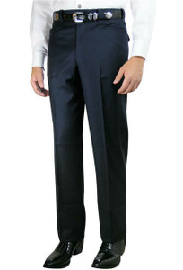 Navy Premium Plain Front Western Dress Slacks- Front