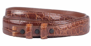 "Alligator 1 1/4 - 3/4"" Tapered Belt Strap - Cognac 1"