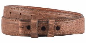 "Belly Caiman 1 1/4 - 1"" Tapered Belt Strap - Barnwood - Front"