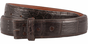 "Matte Alligator 1 1/2"" Straight Belt Strap - Brown 1"