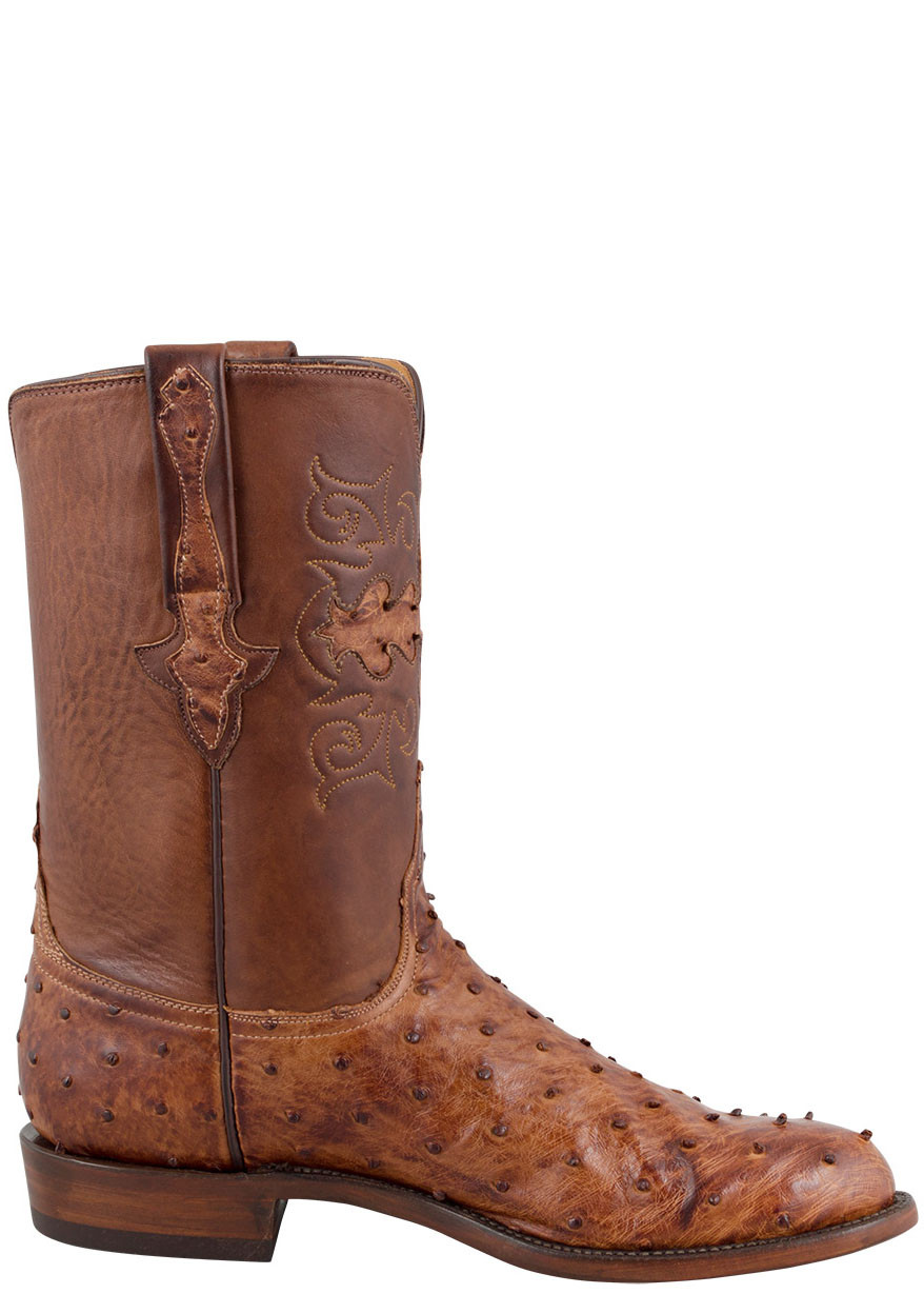 2c32475319a Lucchese Men's Barnwood Full-Quill Ostrich Roper Boots