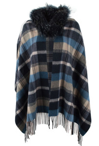 Linda Richards Plaid Shawl with Fur Collar - Indigo - Front
