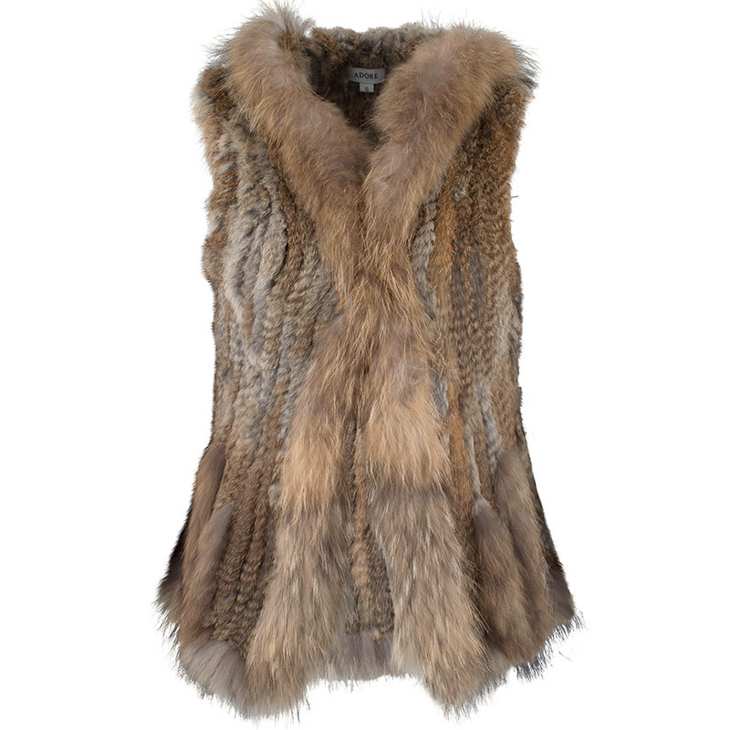 Adore Hooded Fur Vest - Front