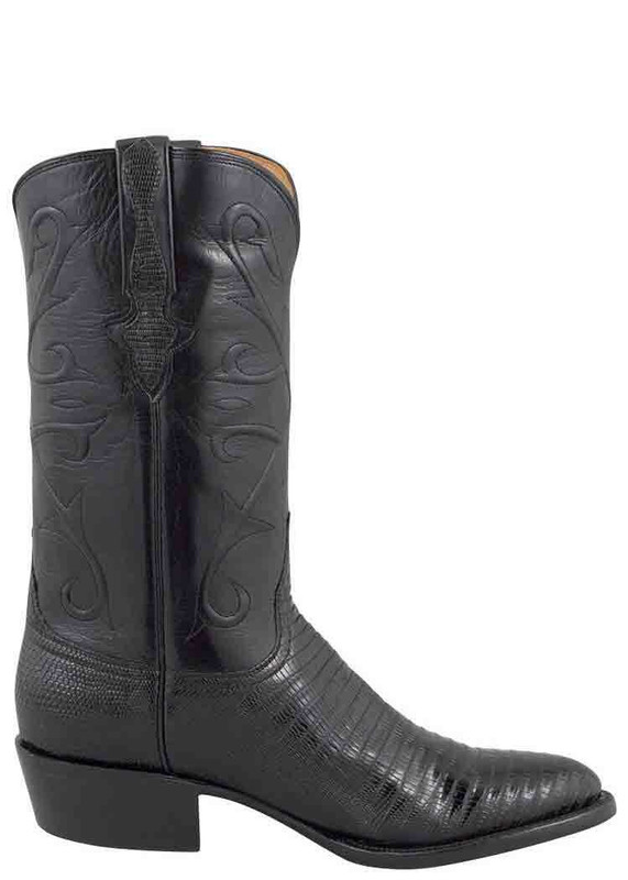 Lucchese Men's Black Lizard Boots - Side