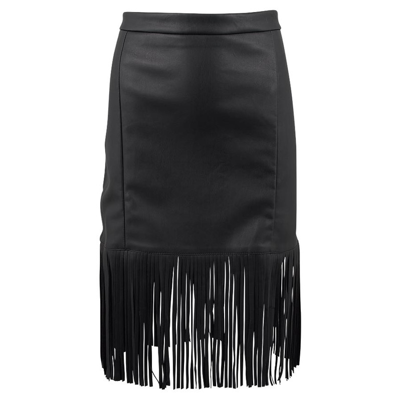 Bagatelle Faux Leather Fringe Skirt - Front