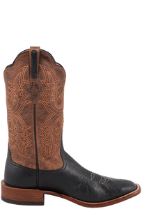 Rios of Mercedes Men's Black and Tan Smooth Ostrich Boots - Side