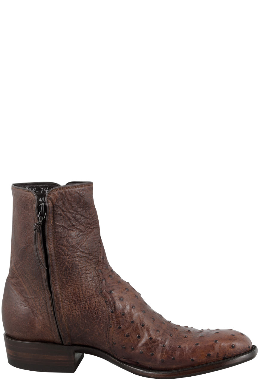 f429ff049bb Stallion Men's Zorro Antique Saddle Full-Quill Ostrich Ankle Boots