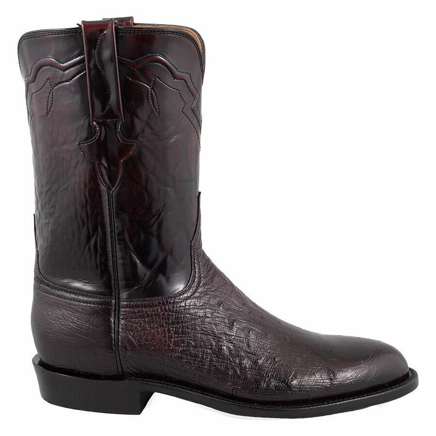 fd232276d36 Lucchese Men's Black Cherry Smooth Ostrich Roper Boots