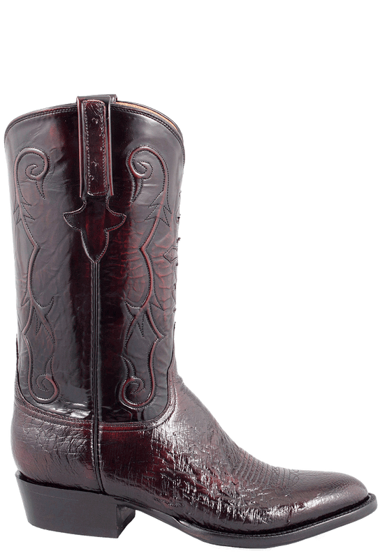 3a88e25f180 Lucchese Men's Black Cherry Smooth Ostrich Boots